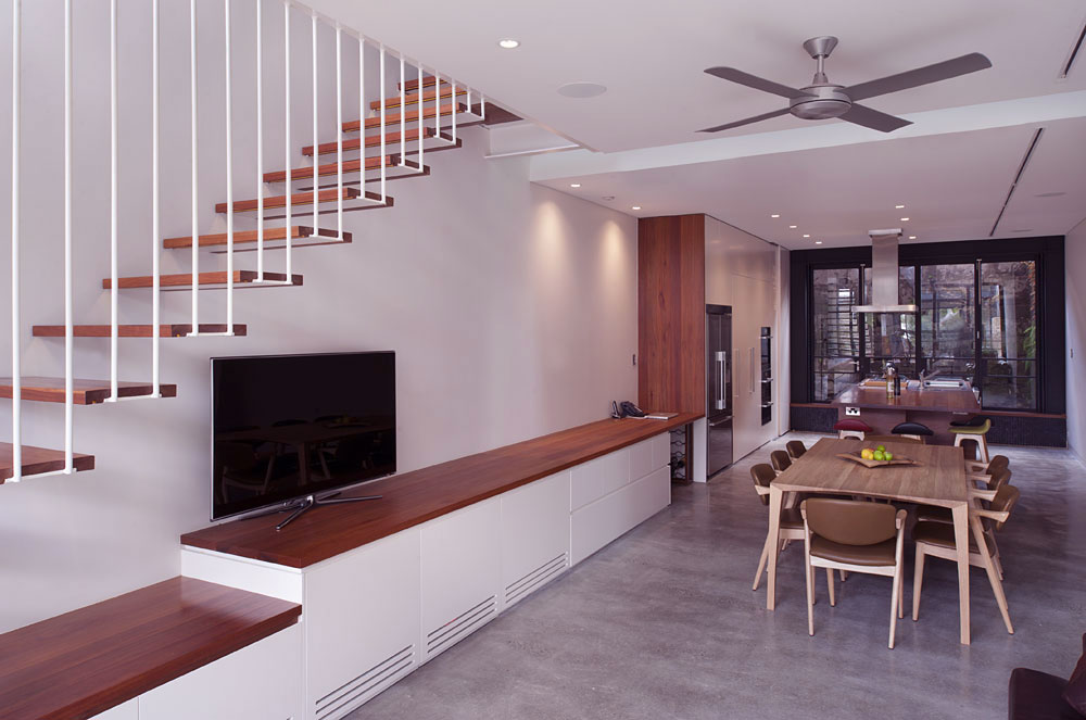 Living Room with Floating Stair Ideas
