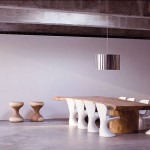 Log Dining Room Table with Modern White Chairs