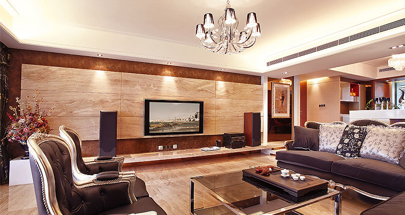 Luxury living room with wood paneling entertainment wall interior design ideas Wall panelling designs living room