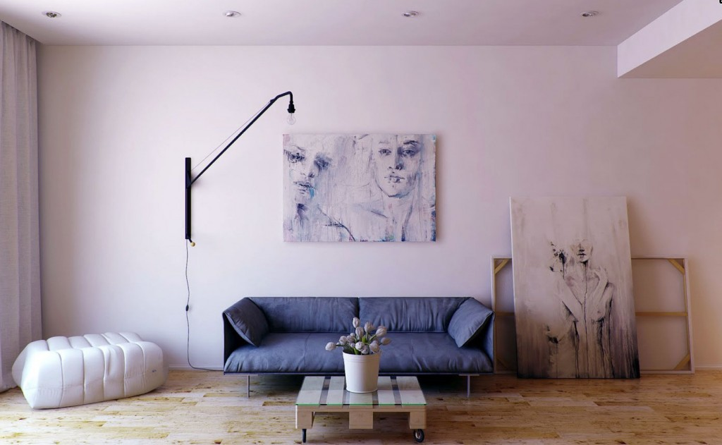 Minimalist living room with cool wall painting interior for Minimalist apartment living room