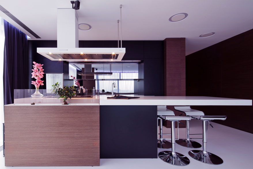 Modern Black Brown White Kitchen Design Interior Design