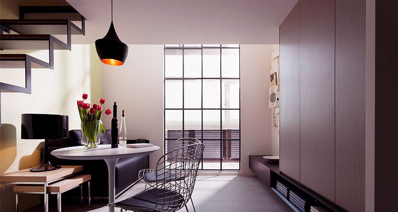 Modern Bright Black White Dining Room