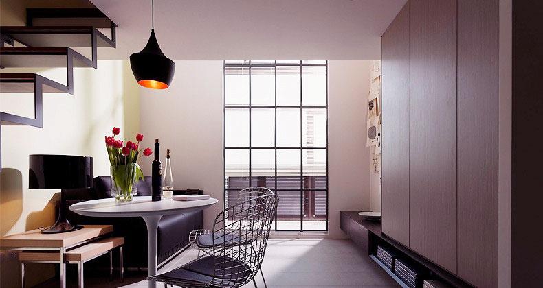 Modern Bright Black White Dining Room