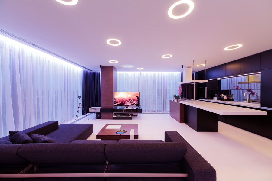 Modern Brown White Living Room with Recessed Ceiling Light