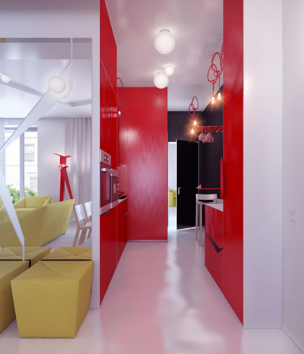 Bold Idea Cheap Interior Design Ideas For Apartments Great: Modern Colorful Hall Way Small Apartment Design