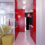 Modern Colorful Hall Way Small Apartment Design