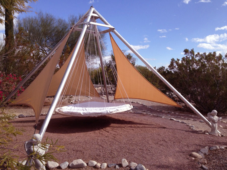 Modern Design Outdoor Floating Bed with Hammock