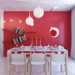 Modern Light Fixtures in White Red Dining Room