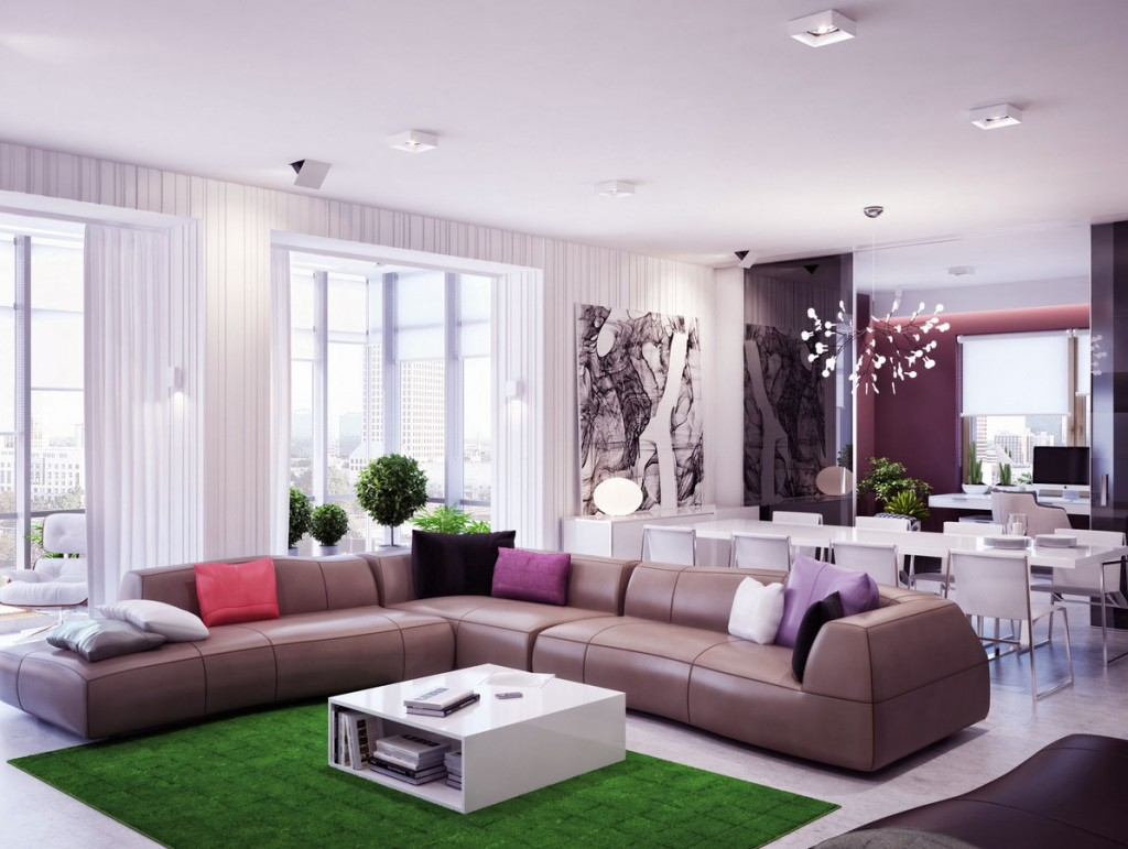 Modern Lounge with Cool Grassy Green Rug