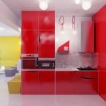 Modern Red Kitchen Units Furniture Set