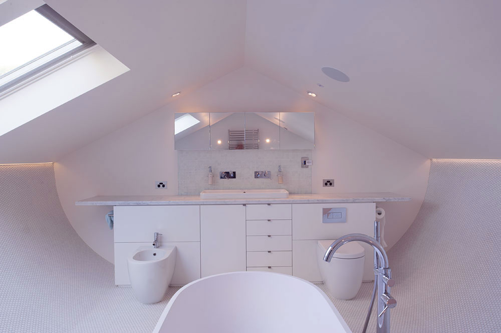 Modern White Attic Bathroom Design