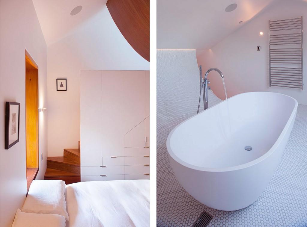 Modern White Bedroom and Bathroom Rozelle Terrace House