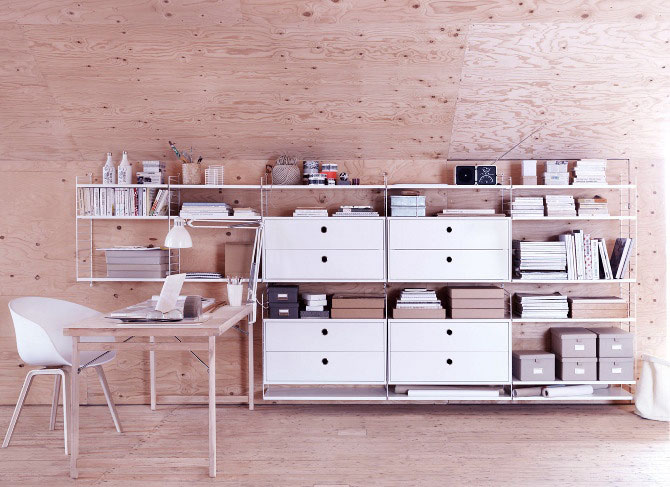 Modern White Bespoke Shelving System with Ash Wall Decor