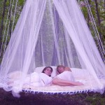 Mosquito Net Outdoor White Floating Bed