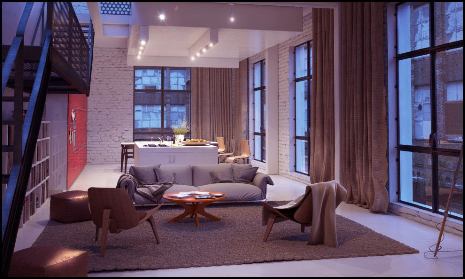 Neutral Contemporary Living Dining Area with White Brick Wall