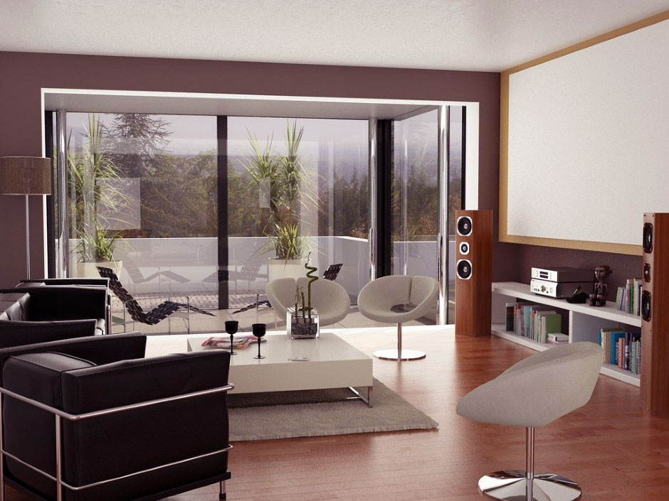 Neutral Living Room With Projector Screen And Glass Wall Ideas Interior Des