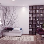 Neutral Nature Inspired Bedroom with Modern Bookshelves