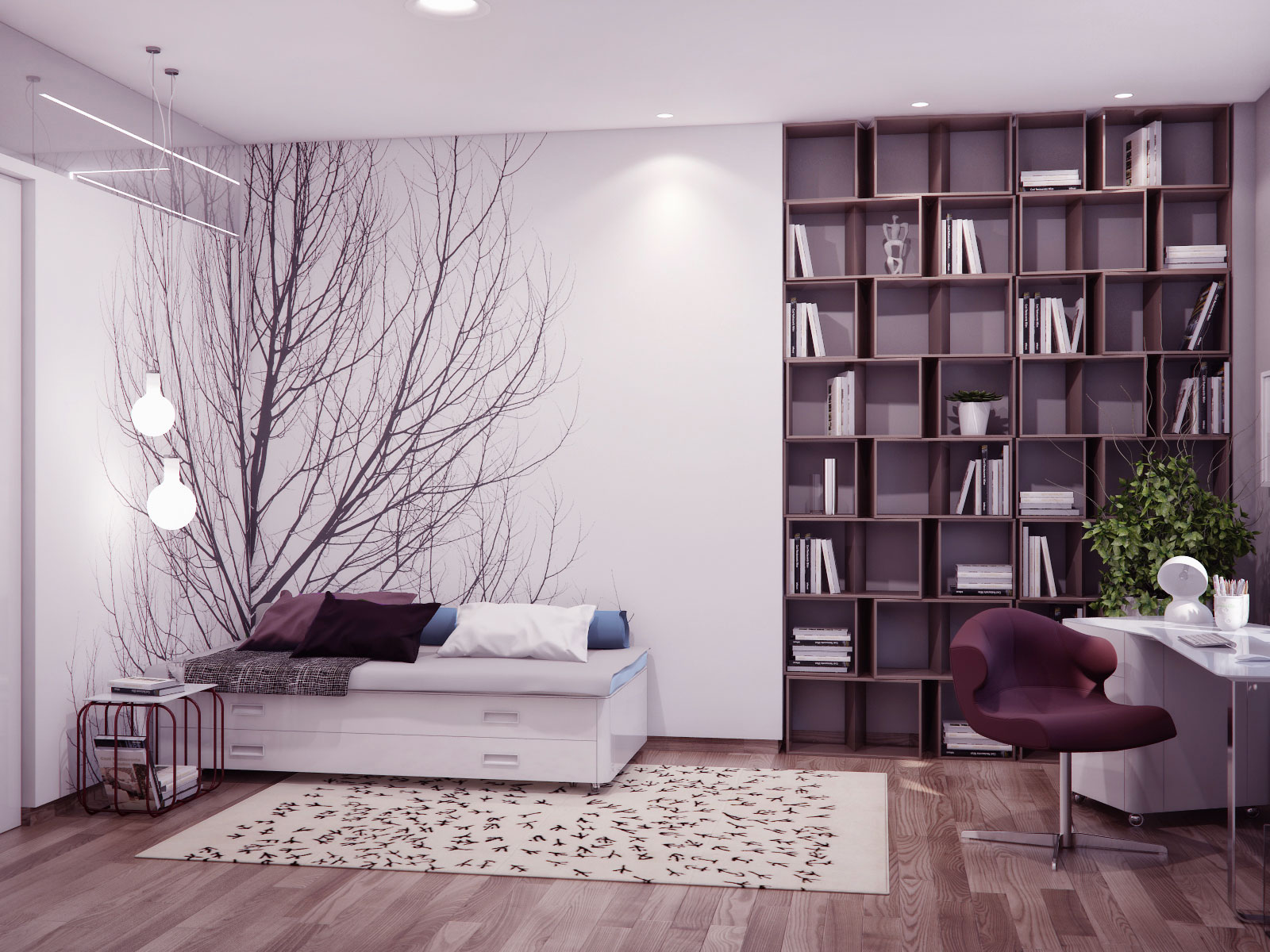 Neutral Nature Inspired Bedroom With Modern Bookshelves