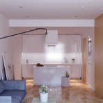 Open Living Room with White Kitchen Units Design