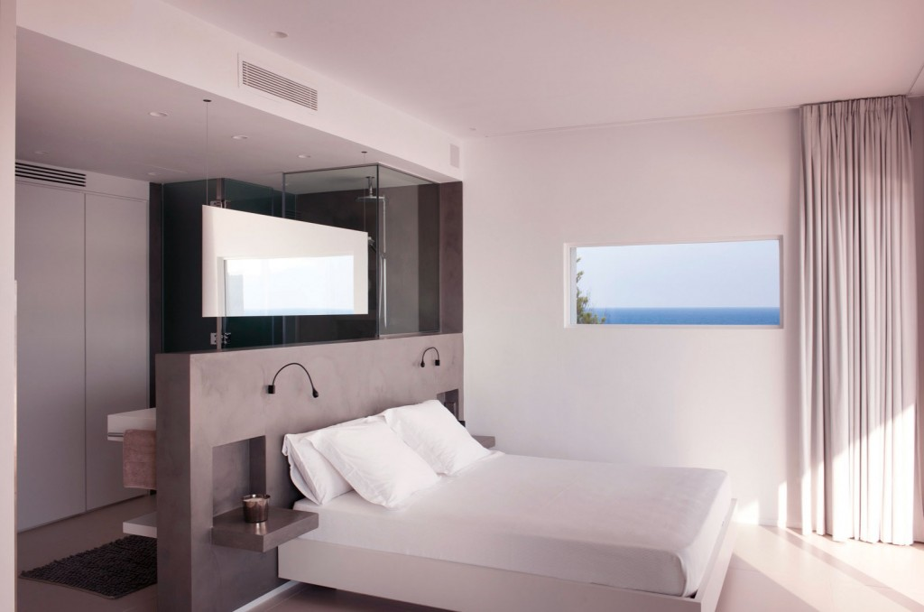 Open Plan Bedroom Bedroom with Grey Headboard