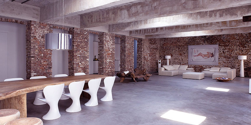 Open Plan Exposed Brick Wall Interior Decor