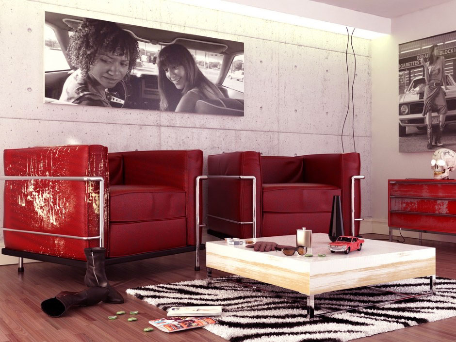 Red Black White Contemporary Living Room with Vintage Sofas
