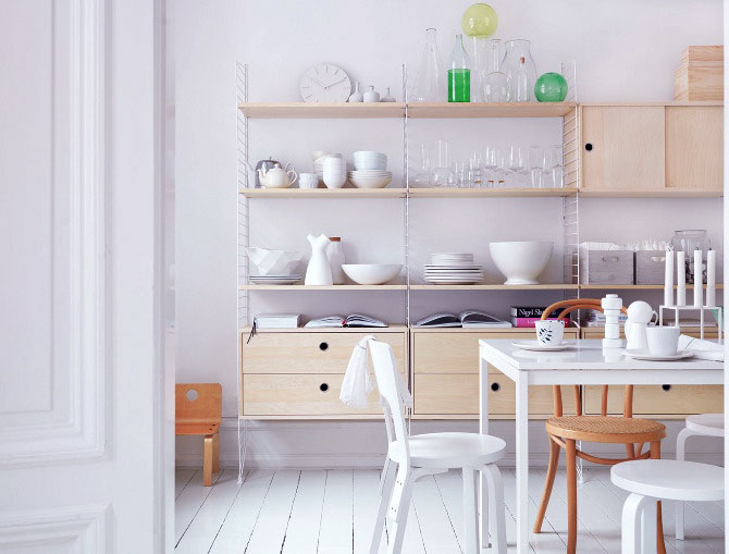 Simple White Dining Room with Beech Wood Units