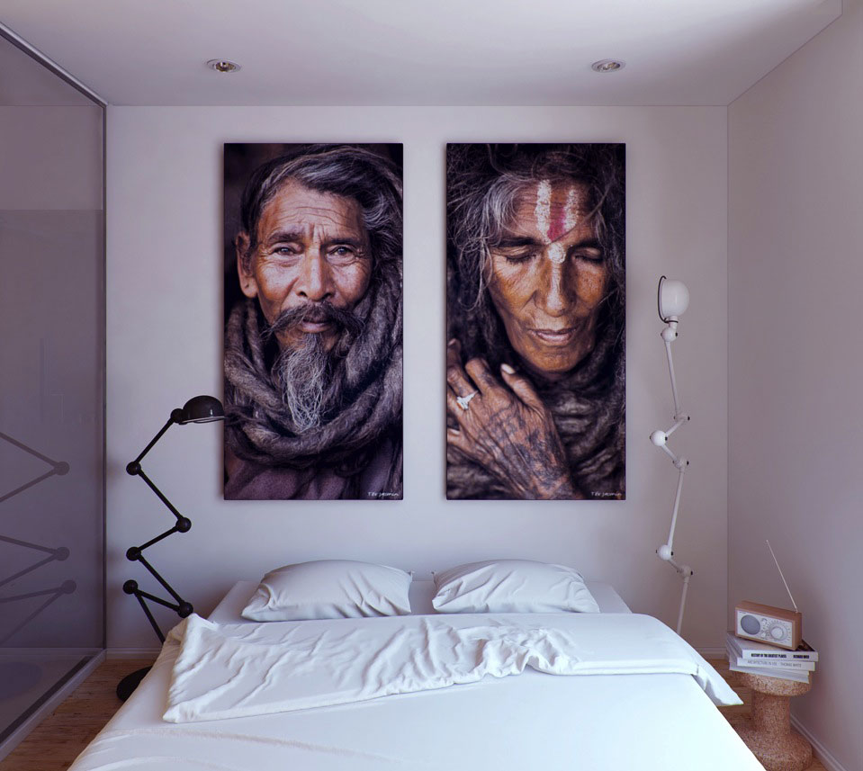 White Bedroom with Old Indian Man Artwork Wall Decor