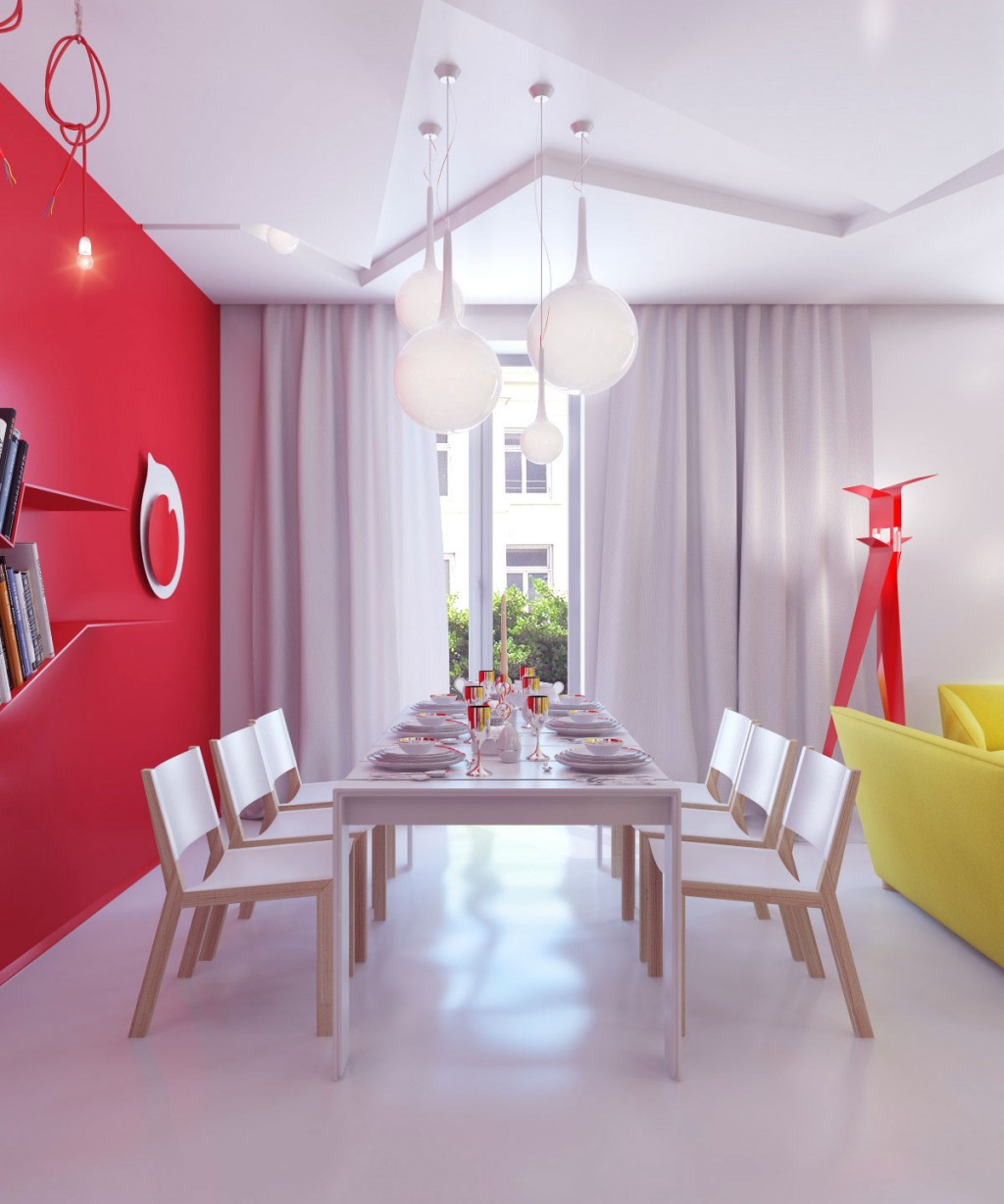 White Dining Room with Red Wall Decor