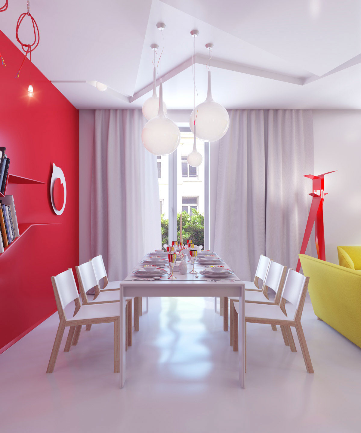 Bright color small apartment decor ideas interior design for Small dining room wall decor ideas