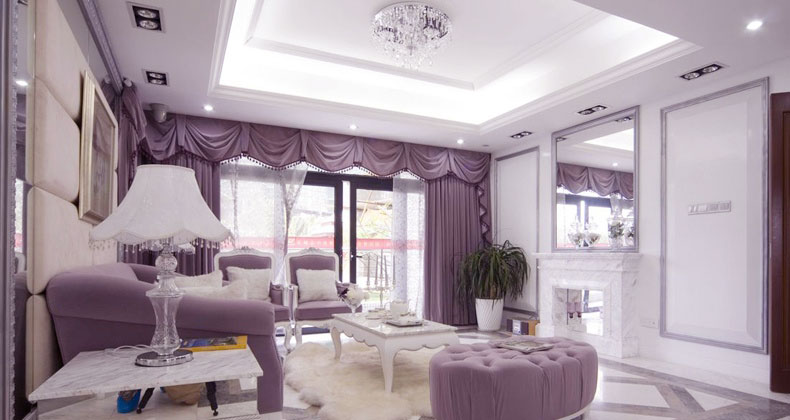 White lilac luxury traditional living room interior for Mauve living room decor
