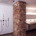 White wall and Brick Bathroom Scheme