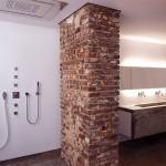 White wall and Brick Bathroom Scheme