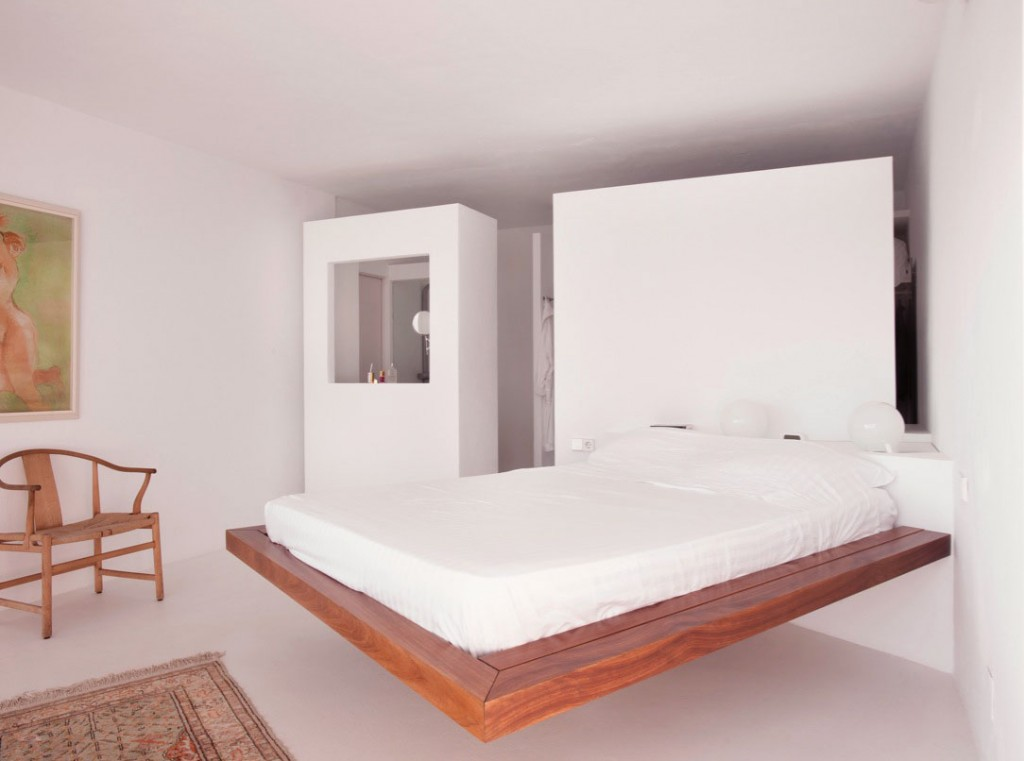 Wooden Platform Bed in White Room Ideas