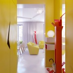 Yellow Hallway Decor with Large Mirror Ideas