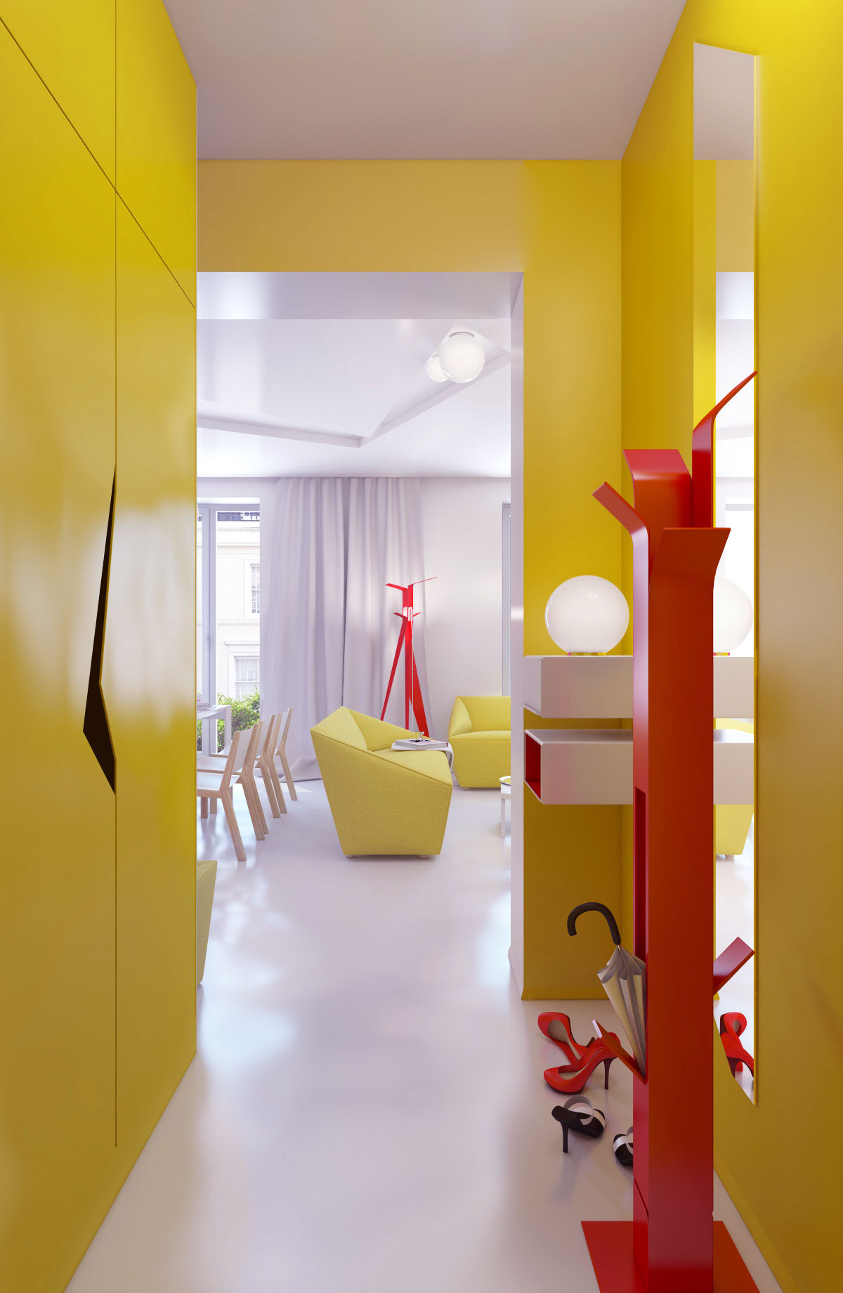 Yellow Hallway Decor with Large Mirror Ideas