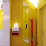 Yellow Hallway with Red Storage