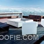 Beautiful Sun Deck Lounge Area with Wood Furniture
