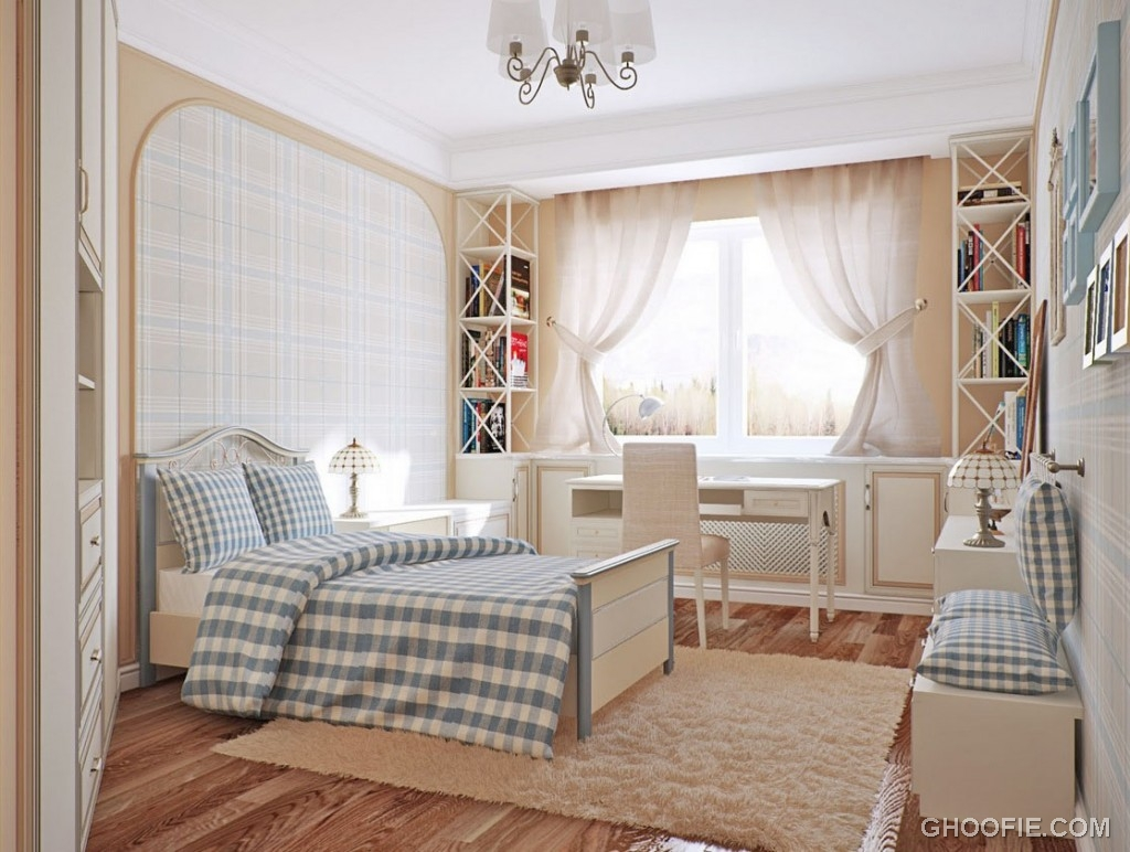 Bright Bedroom with Blue Chequered Ideas