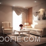 Bright Living Room with Wood Panelling