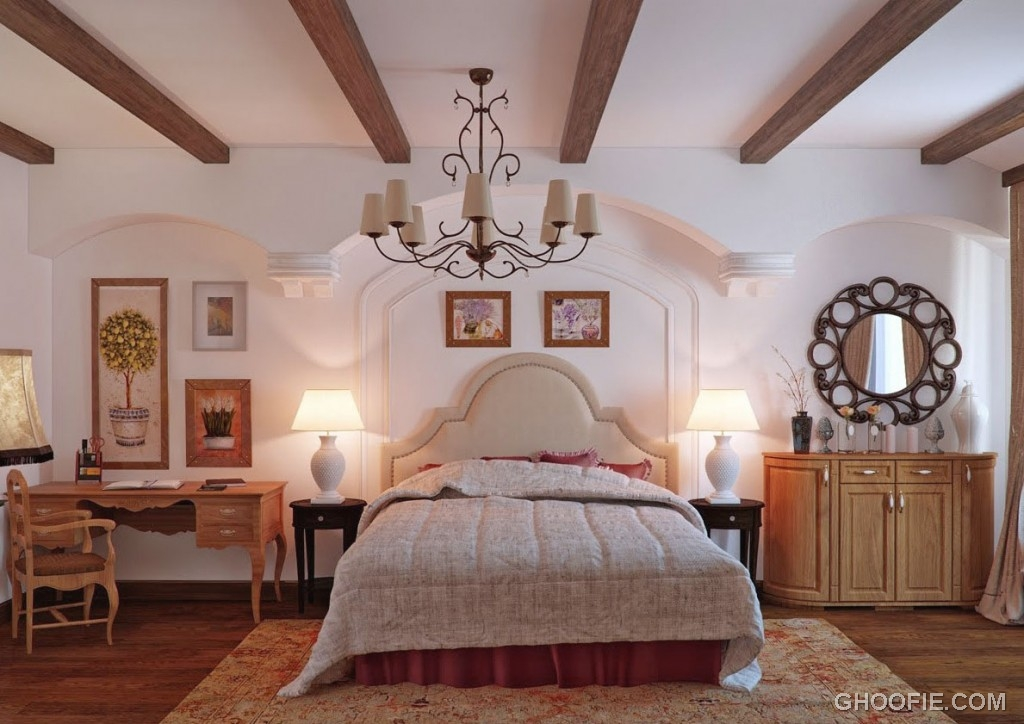 Classic Italian Bedroom with Oak and Cream Color
