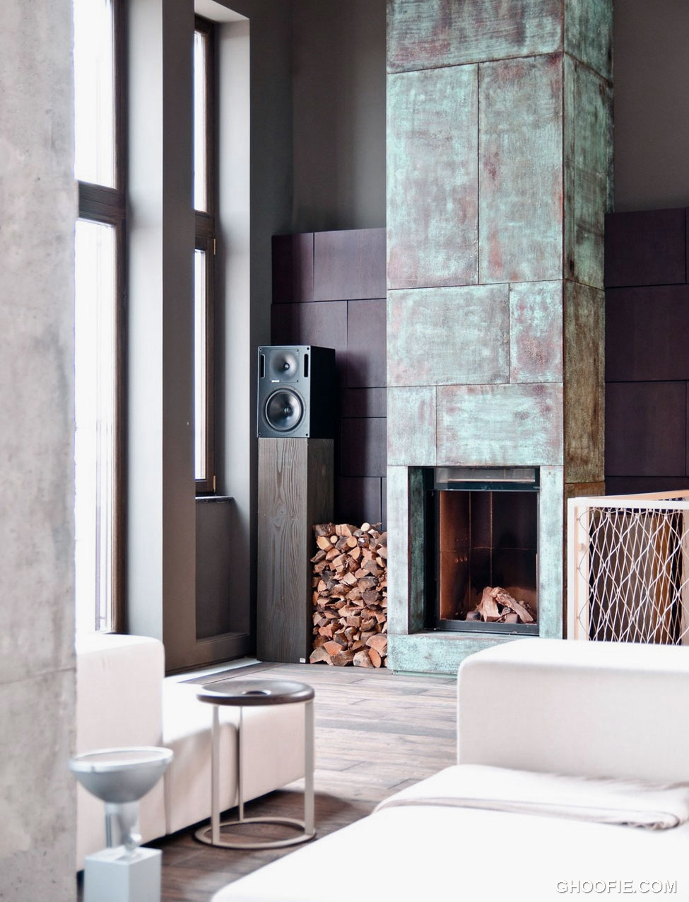 Contemporary Corner Fireplace Industrial Decor Ideas