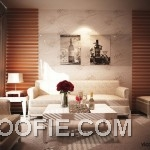Contemporary Living Room with Floral Wallpaper