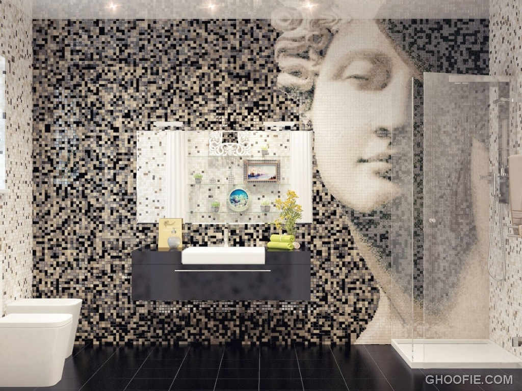 Contemporary Mosaic Tile Bathroom Feature Wall
