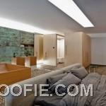 Contemporary Open Plan Bedroom Bathroom in One Space