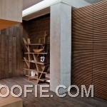 Contemporary Wood Cladding Flooring Living Room