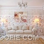 Cream Living Room with Swirl Floral Wall Decals