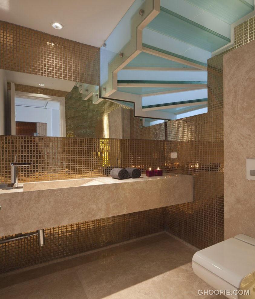Gold Bathroom Mosaic Tile Design