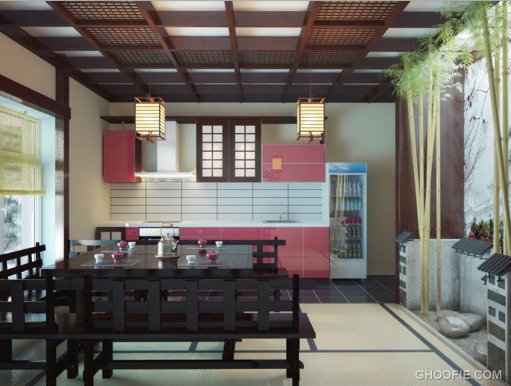 japanese kitchen dining space with bamboo decor interior