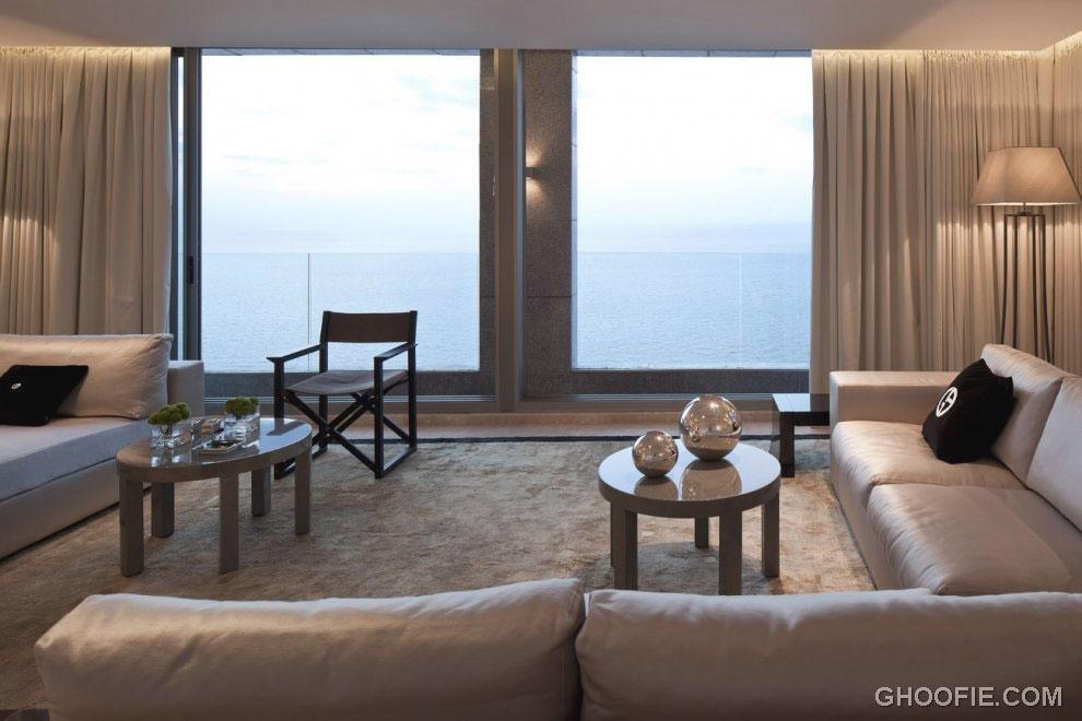 Minimalist Living Room Lounge with Large Glass Window